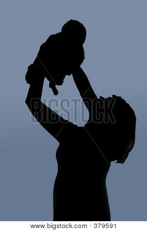 Mother With Baby Over Blue