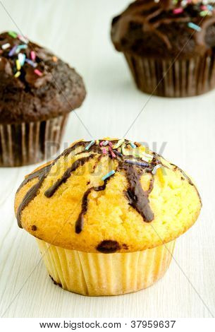 Delicious Muffins On Kitchen Table