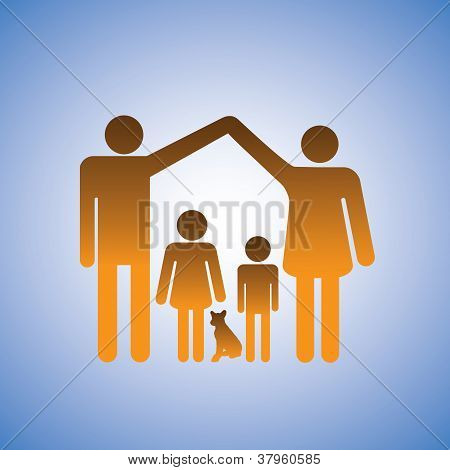 Concept Illustration Of Parents,children & Dog Forming A Home. This Represents A Nuclear Family Of F