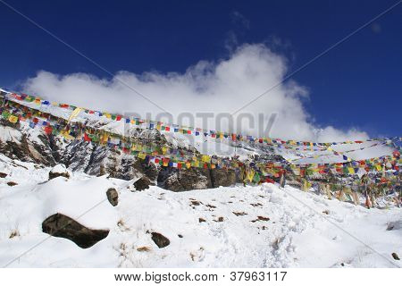 Travel Nepal: Buddhist prayer flags in ABC