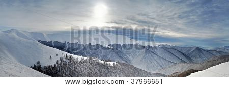 Cloudy Winter Mountains Panorama