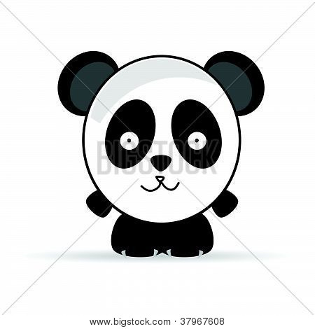Sweet And Funny Panda Animal Vector Illustrtion