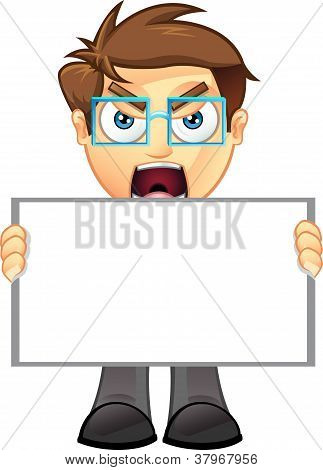 Business Man - Blank Sign - 1