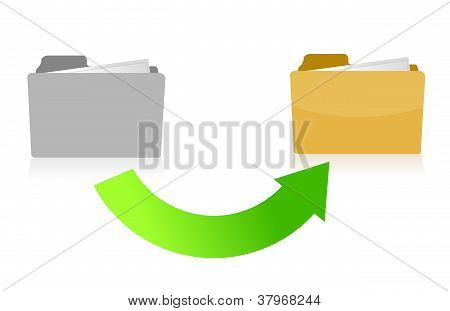 Folder Transferring Files Concept Illustration