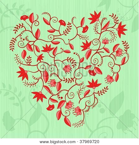 Floral heart shaped pattern