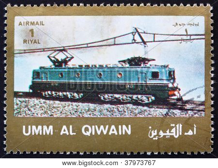 Postage stamp Umm al-Quwain 1972 ElectricLocomotive