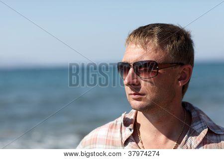 Man On Sea Background