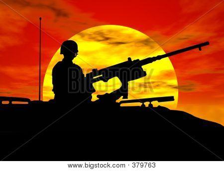 Army Gunner On Tank