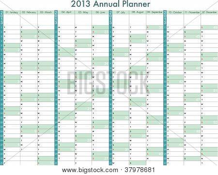 2013 calendar. Years Planner.