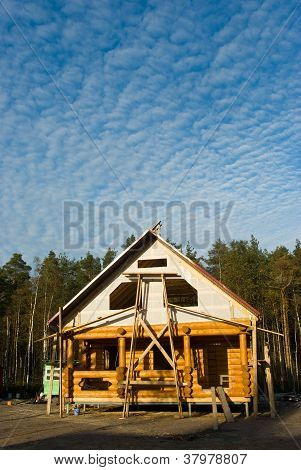 Log House Under Construction