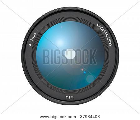 Camera Lens for Film and Digital Cameras on White Background