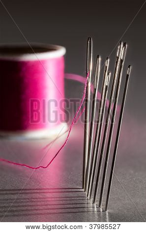 Row Of Embroidery Sewing Needles