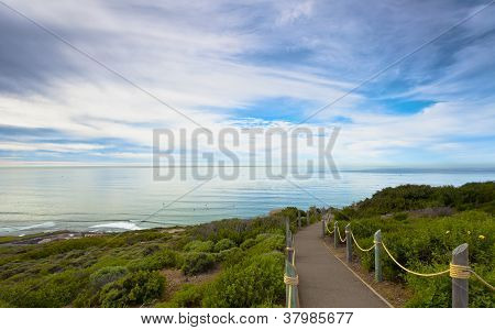 Point Loma Hilltop Pathway Overlooking San Diego's Coastline.  San Diego, California