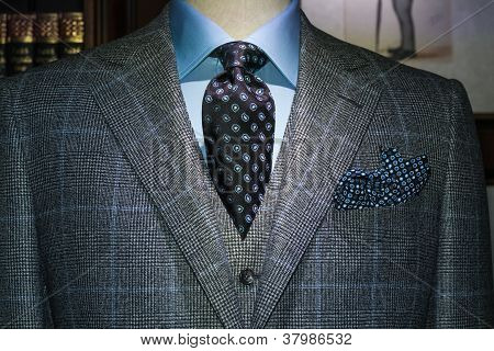 Checkered Jacket & West with Blue Shirt and Tie (Horizontal)