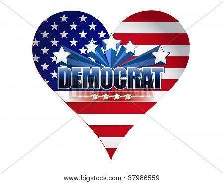 Democrat Party Usa Heart Illustration Design