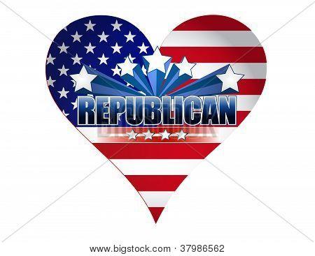 Republican Party Usa Heart Illustration Design
