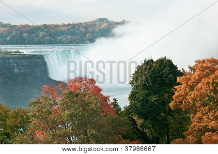 The Colors Of Fall Against Niagara Falls