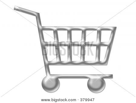 Silver Shopping Cart Isolated