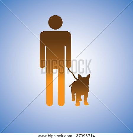 Illustration Of Man And His Best Friend - Dog. This Graphic Contains Symbol Of Adult Male Holding Th