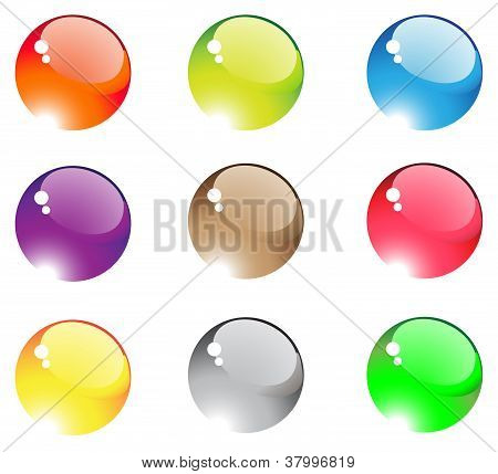 Nine Colorful Aqua Buttons