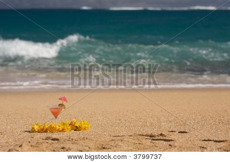 Tropical Drink On Beach Shoreline