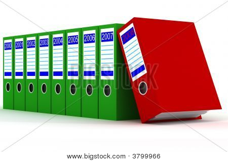 Row Of Green Folders With Documents On A White Background