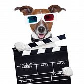 foto of clapper board  - movie clapper board 3d glasses dog watching a movie - JPG