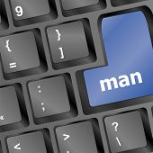 Man Blue Key On Keyboard Laptop Computer