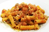 image of guanciale  - Close up shot of some Rigatoni all - JPG