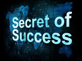 Life style concept: pixelated words Secret of Success on digital