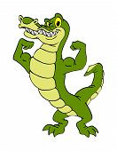 picture of alligators  - hand drawn cartoon of an alligator flexing his muscles - JPG