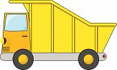 picture of dump_truck  - Vector cartoon illustration of an orange and yellow dump truck - JPG