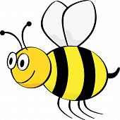 stock photo of bumble bee  - Vector cartoon illustration of a bee flying - JPG