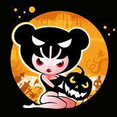 Постер, плакат: Хэллоуин ведьмы с тыквой