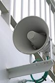 stock photo of hooters  - White alarm megaphone on the ship board - JPG