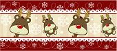 stock photo of rudolph  - cute christmas seamless border with baby rudolph - JPG