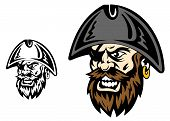 pic of pirate hat  - Angry corsair and pirate captain for mascot design - JPG