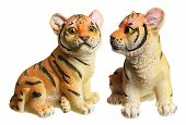 picture of white tiger cub  - Tiger Cub Figurines on Isolated White Background - JPG