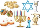 image of hanukkah  - A pack of Vector illustrations of famous symbols for the Jewish Holiday Hanukkah - JPG