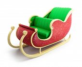 stock photo of sleigh ride  - santa sleigh isolated on a white background - JPG