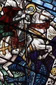 pic of the lost sheep  - Colorful Stained Glass Window with a picture of Saint George - JPG