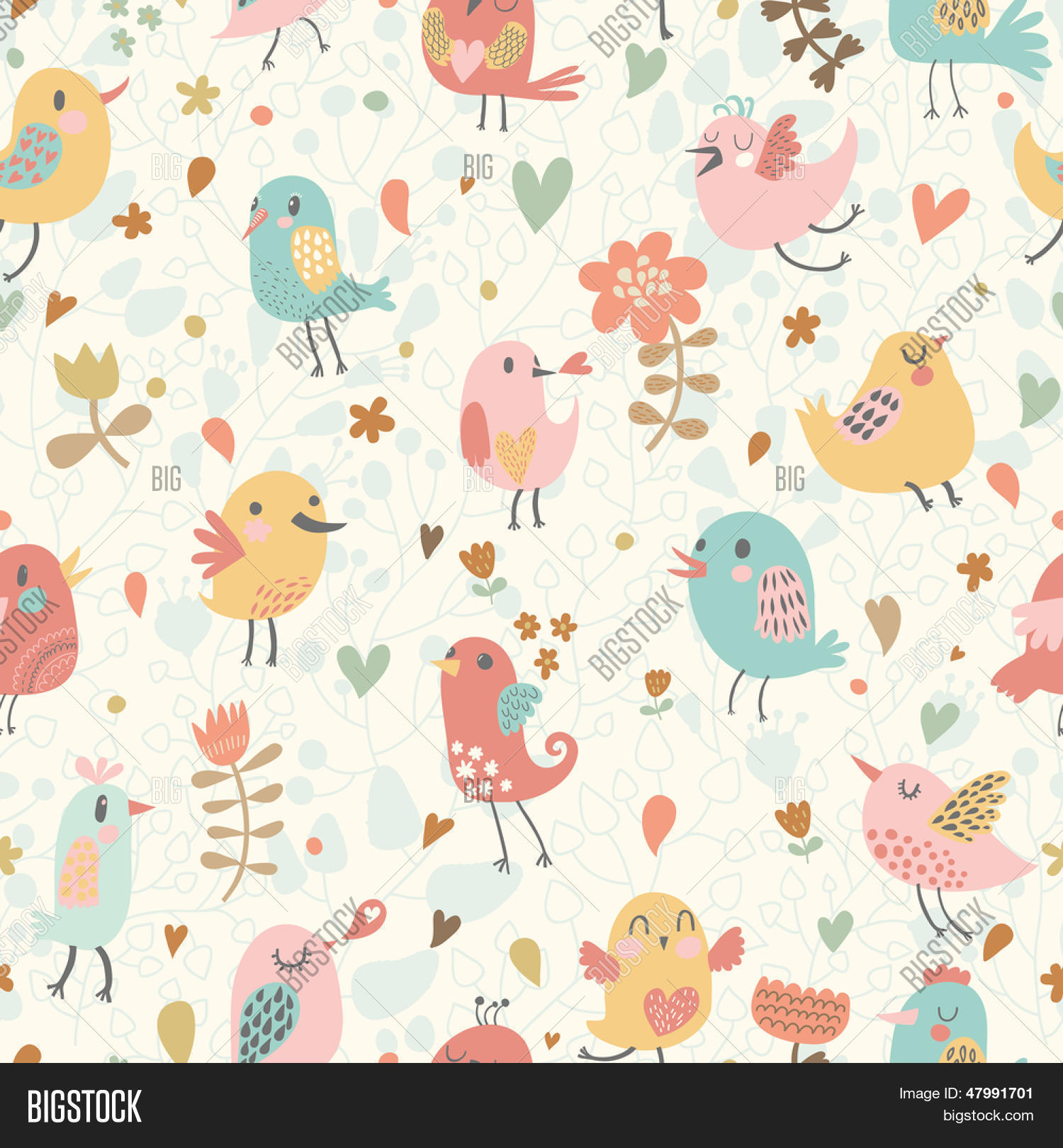 Wallpapers pattern fills web page backgrounds surface textures - Cute Seamless Pattern With Small Birds And Flowers Spring Vector Background In Pastel Colors