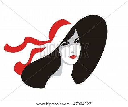 Style vector icon-woman portrait in hat