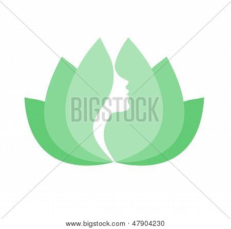 Woman beauty lotus icon isolated on white background