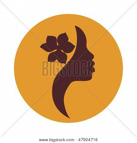 African American woman face profile-vector icon