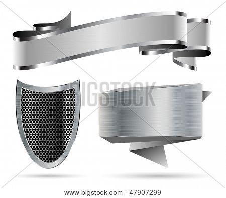 Illustration Set of Metal Shield, Ribbon, Banner. Vector.