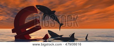 High resolution conceptual bloody euro symbol or sign sinking in water or sea, with black sharks eating at sunset banner background