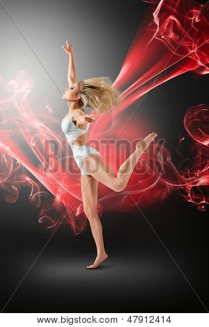 Woman Dancing With Flying Fabric