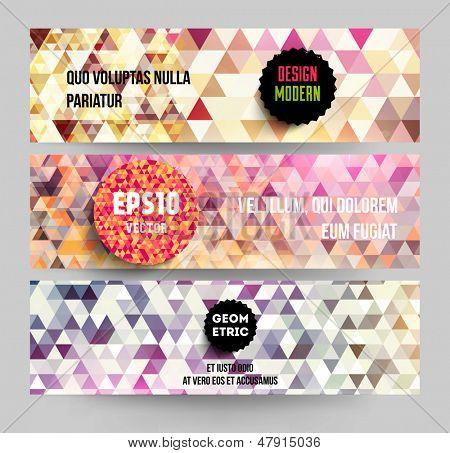 Banners set for business modern design, eps10 vector illustration. Geometric background.