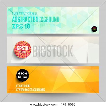 Banners set for business modern background design, eps10 vector illustration. Geometric background.